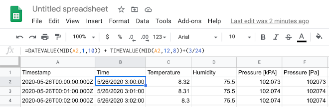 Imported CSV file in a Google Sheets